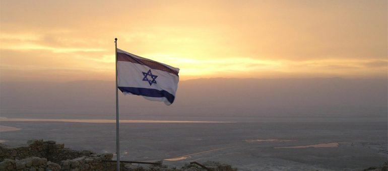 bandera de israel con paisaje